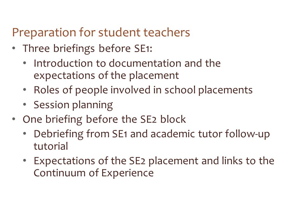 Preparation for student teachers