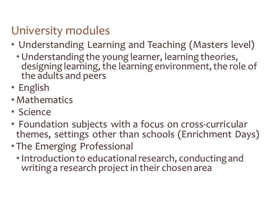 University modules Understanding Learning and Teaching (Masters level)