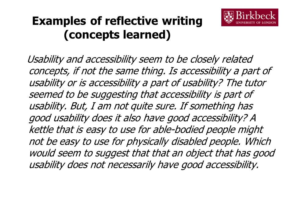 Examples of reflective writing (concepts learned)