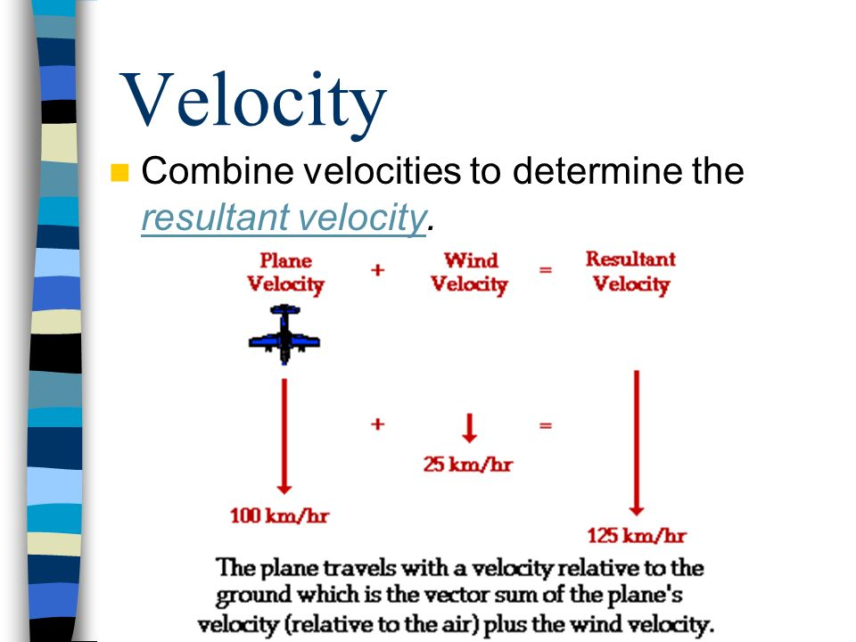 Velocity Combine velocities to determine the resultant velocity.