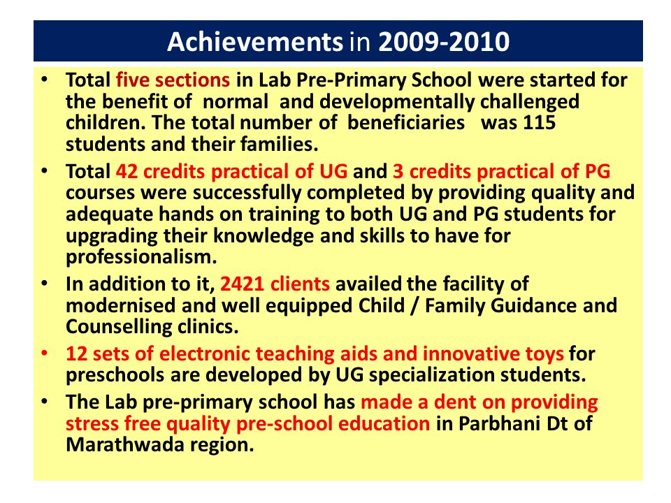 Achievements in 2009-2010