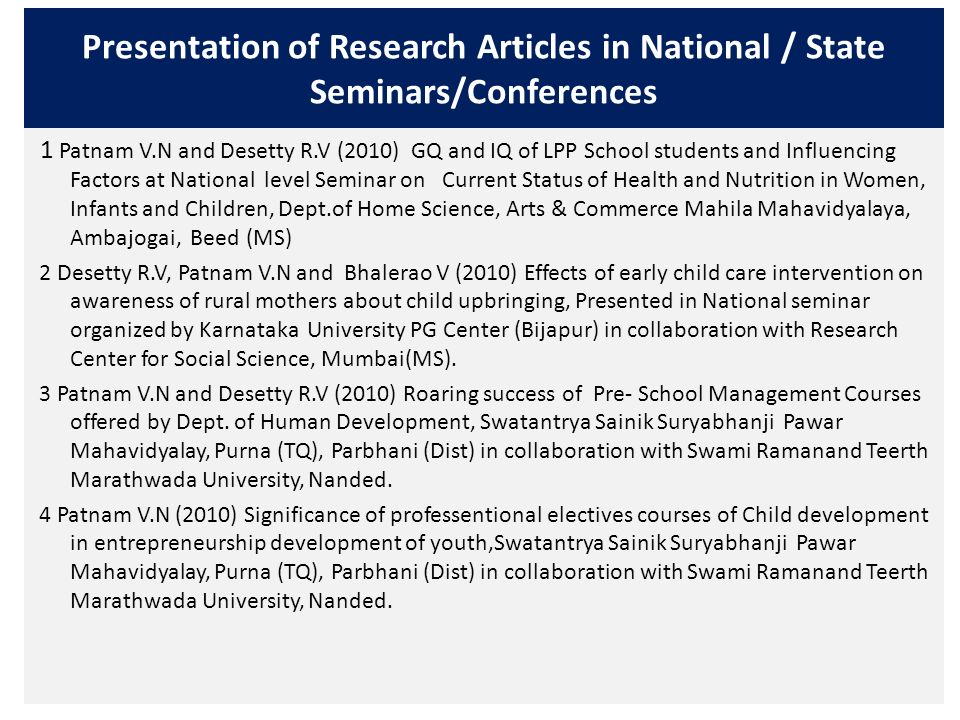Presentation of Research Articles in National / State Seminars/Conferences