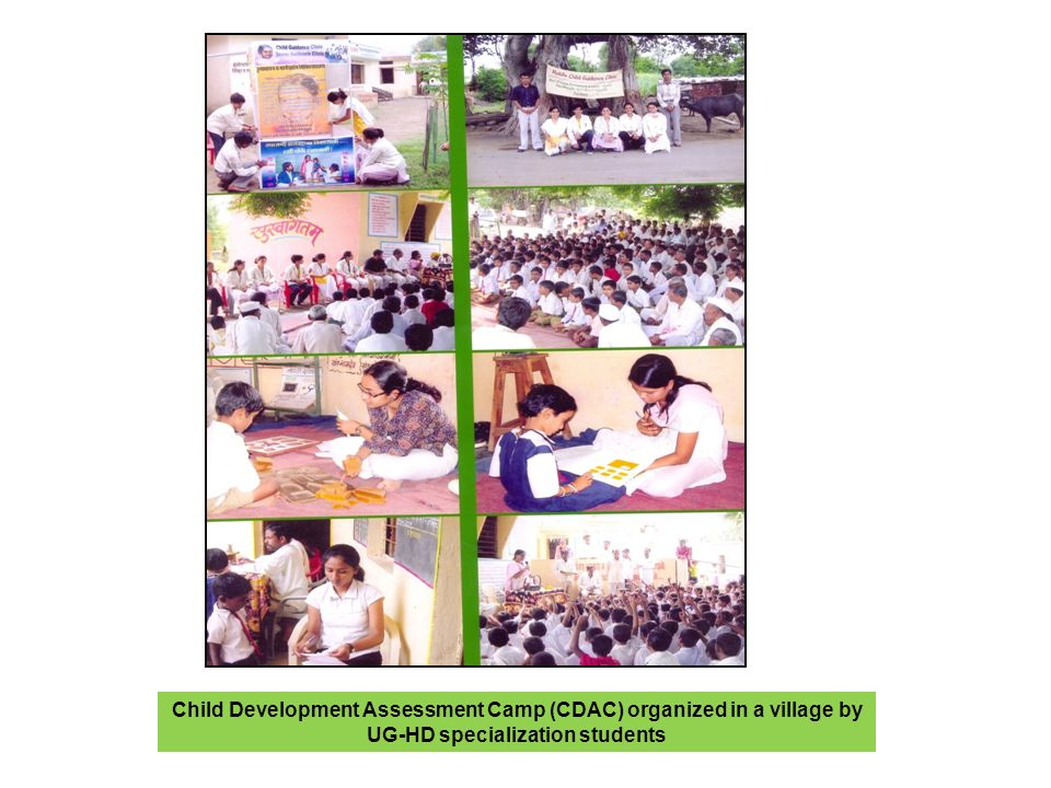 Child Development Assessment Camp (CDAC) organized in a village by UG-HD specialization students