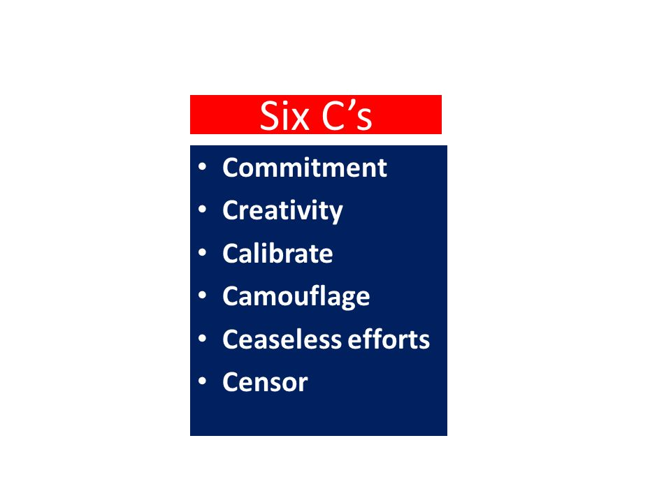 Six C's Commitment Creativity Calibrate Camouflage Ceaseless efforts