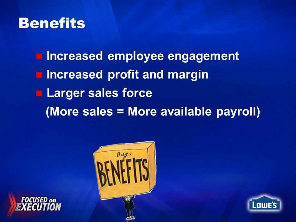 Benefits Increased employee engagement Increased profit and margin