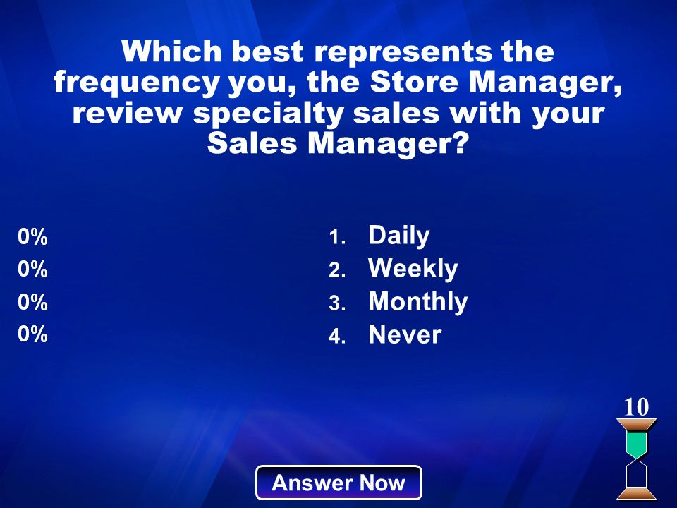 Which best represents the frequency you, the Store Manager, review specialty sales with your Sales Manager