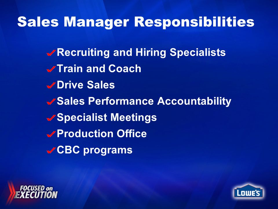Sales Manager Responsibilities