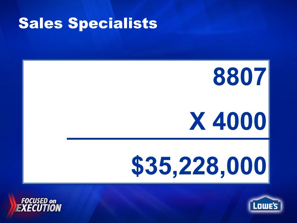 Sales Specialists 8807. X 4000. $35,228,000. 2005 Store turnover = 44.4% 2005 Sales Specialist = 40.2% (8807)