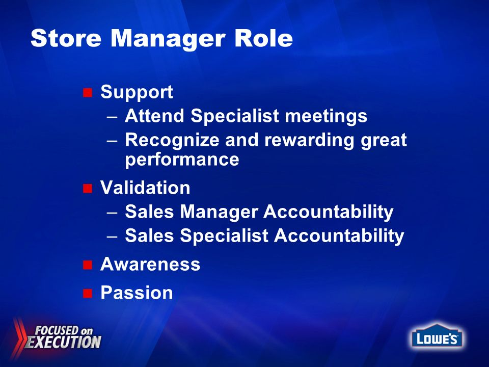 Store Manager Role Support Attend Specialist meetings