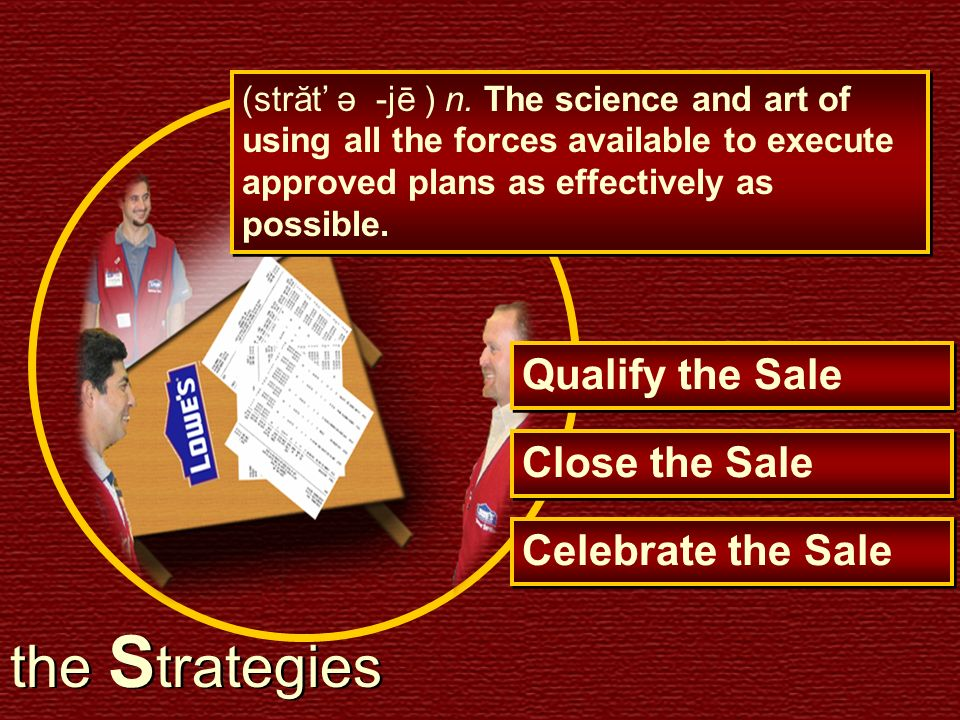 the Strategies Qualify the Sale Close the Sale Celebrate the Sale