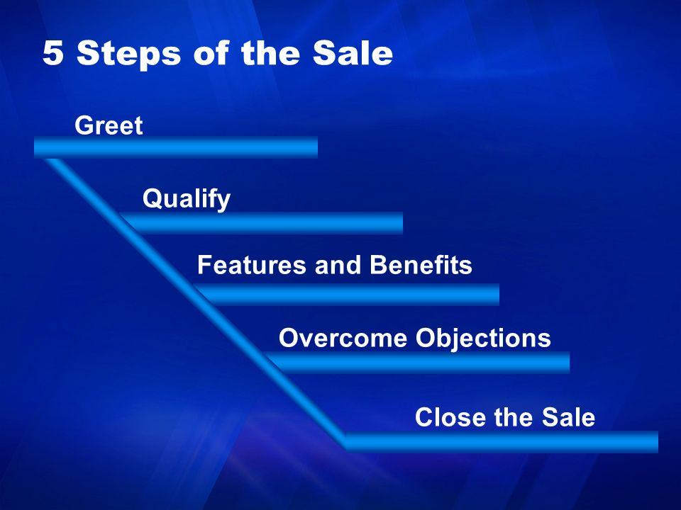 5 Steps of the Sale Greet Qualify Features and Benefits