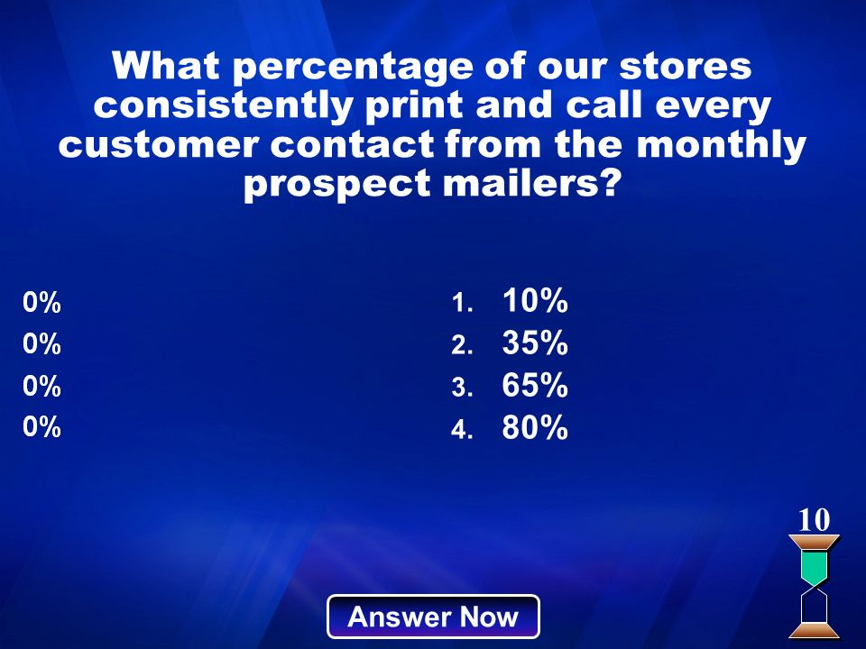 What percentage of our stores consistently print and call every customer contact from the monthly prospect mailers