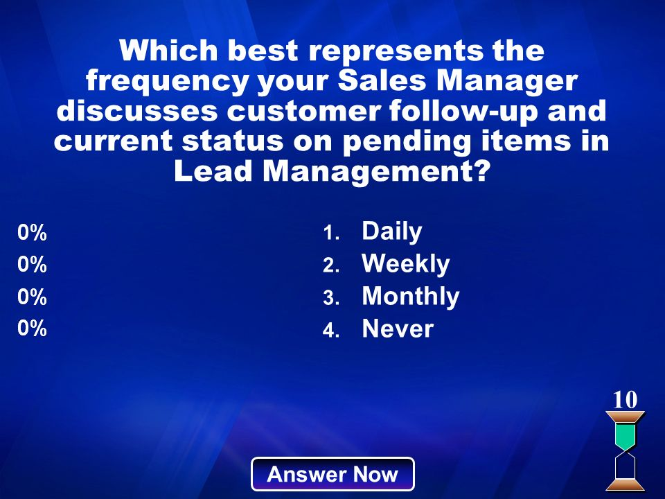 Which best represents the frequency your Sales Manager discusses customer follow-up and current status on pending items in Lead Management