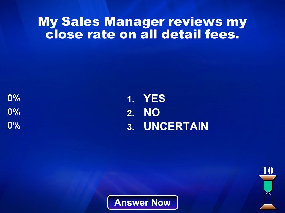 My Sales Manager reviews my close rate on all detail fees.
