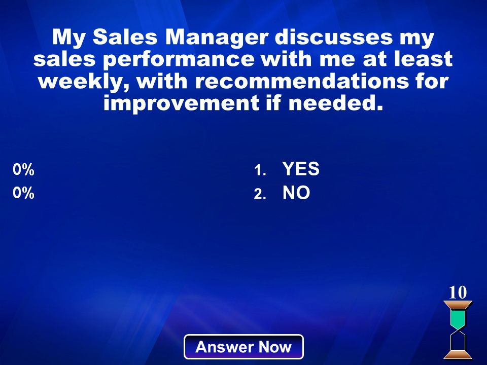 My Sales Manager discusses my sales performance with me at least weekly, with recommendations for improvement if needed.
