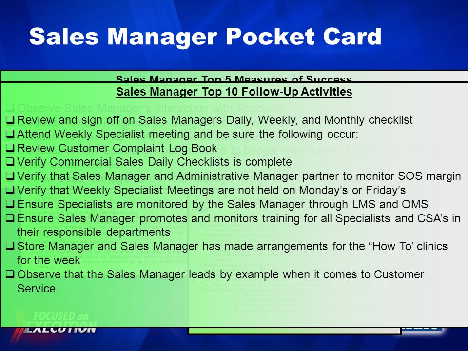 Sales Manager Pocket Card