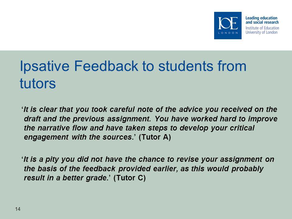 Ipsative Feedback to students from tutors