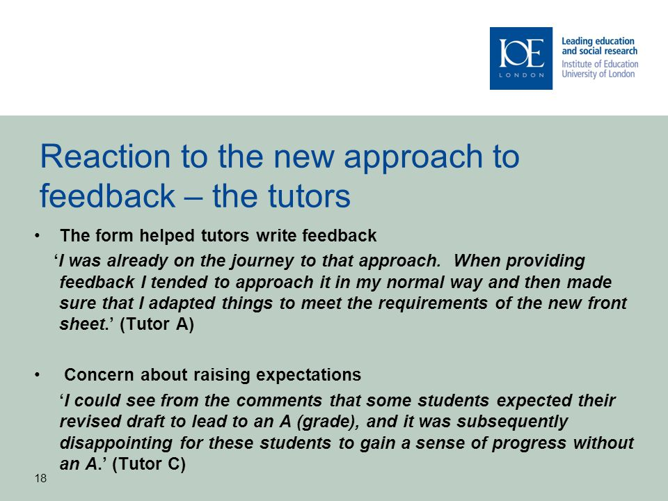 Reaction to the new approach to feedback – the tutors
