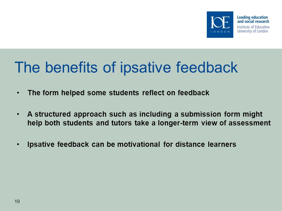 The benefits of ipsative feedback