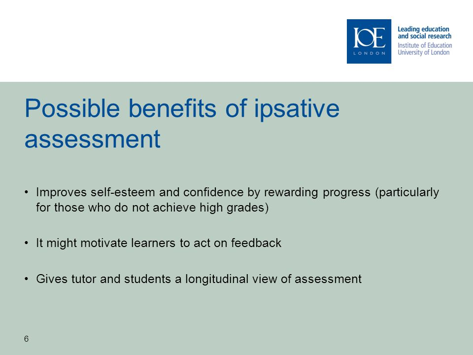 Possible benefits of ipsative assessment