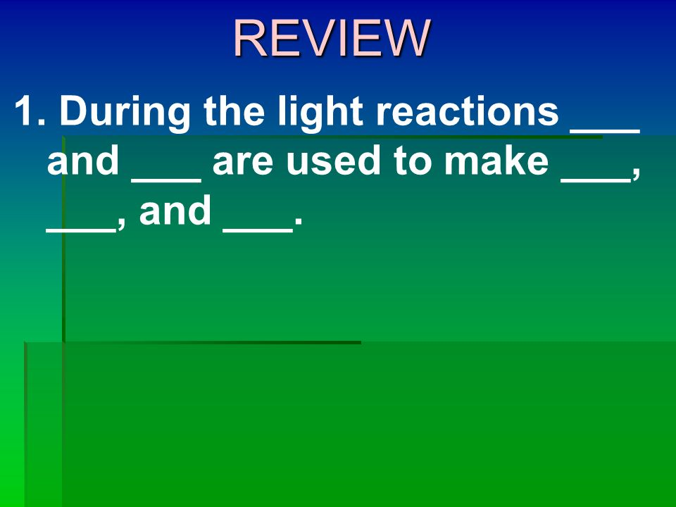 REVIEW During the light reactions ___ and ___ are used to make ___, ___, and ___.