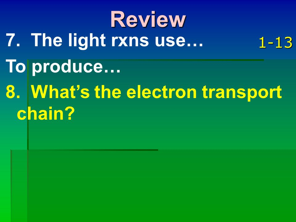 Review 7. The light rxns use… To produce…