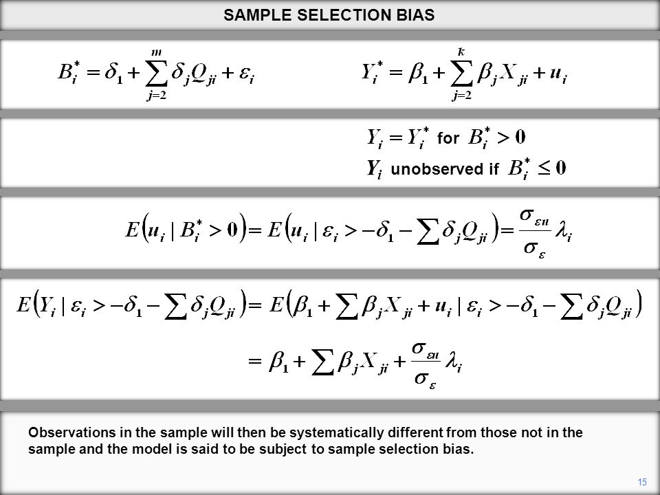 Yi unobserved if SAMPLE SELECTION BIAS for