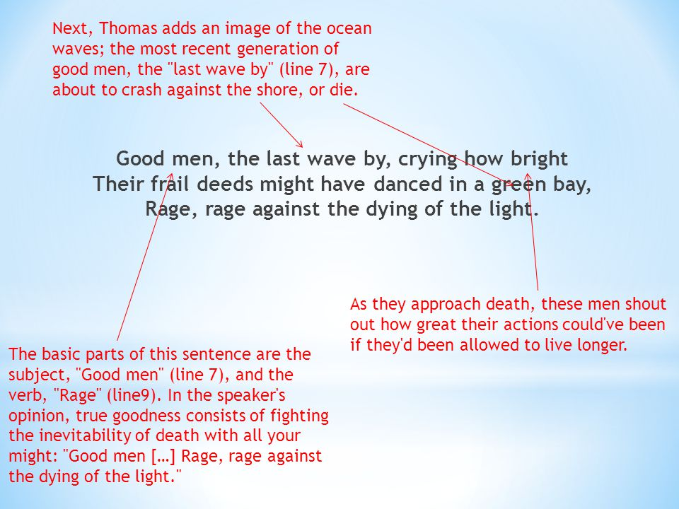 Next, Thomas adds an image of the ocean waves; the most recent generation of good men, the last wave by (line 7), are about to crash against the shore, or die.