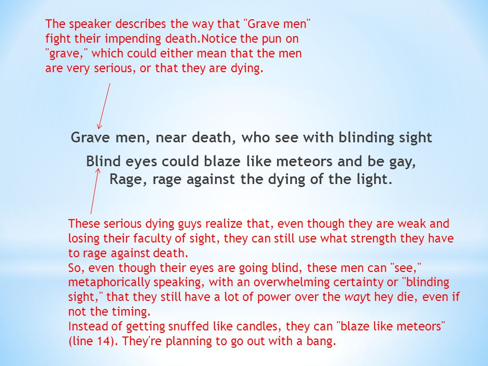 The speaker describes the way that Grave men fight their impending death.Notice the pun on grave, which could either mean that the men are very serious, or that they are dying.