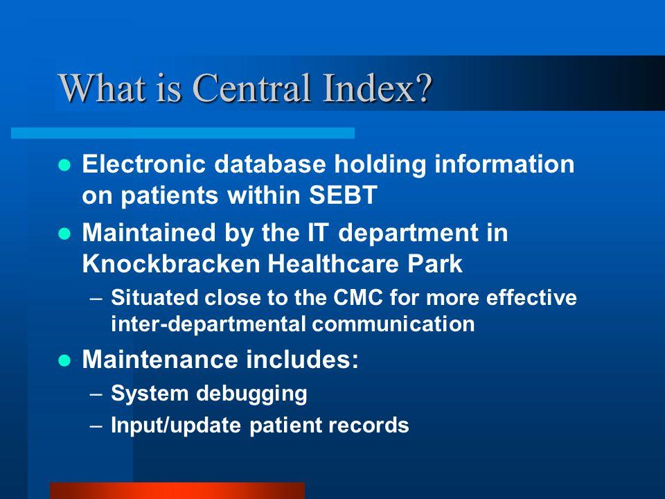 What is Central Index Electronic database holding information on patients within SEBT.