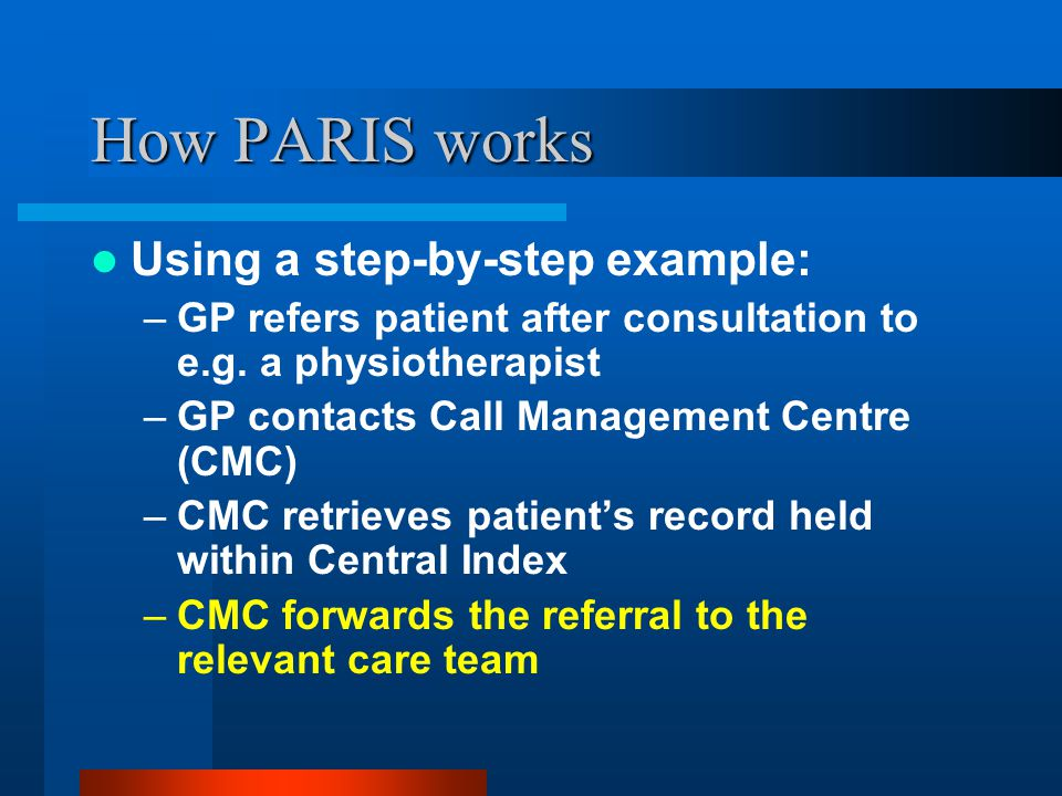 How PARIS works Using a step-by-step example: