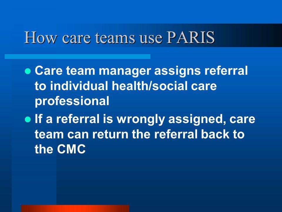 How care teams use PARIS