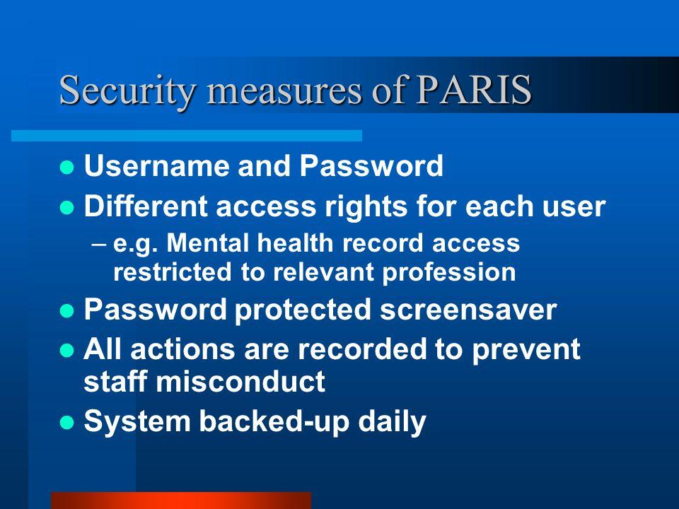 Security measures of PARIS