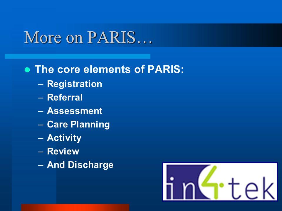 More on PARIS… The core elements of PARIS: Registration Referral