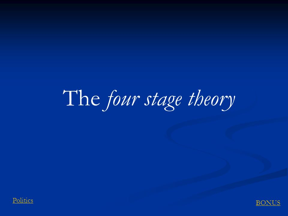 The four stage theory Politics BONUS