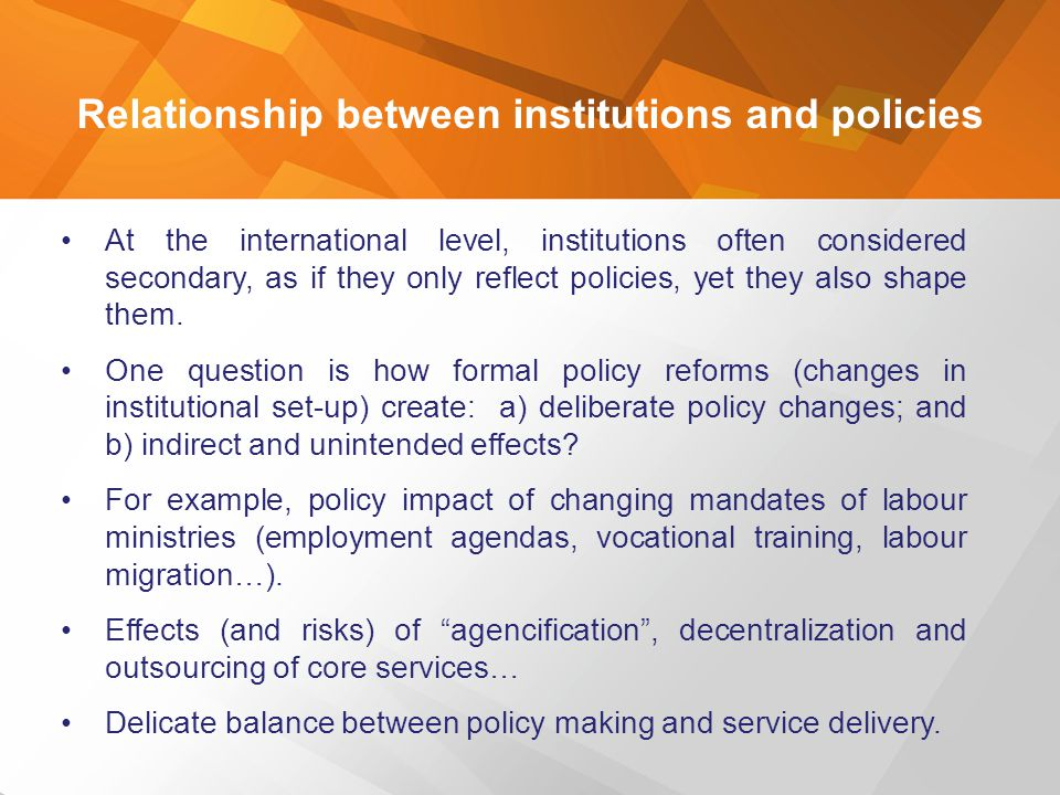 Relationship between institutions and policies
