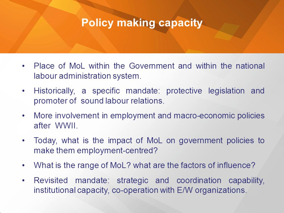 Policy making capacity