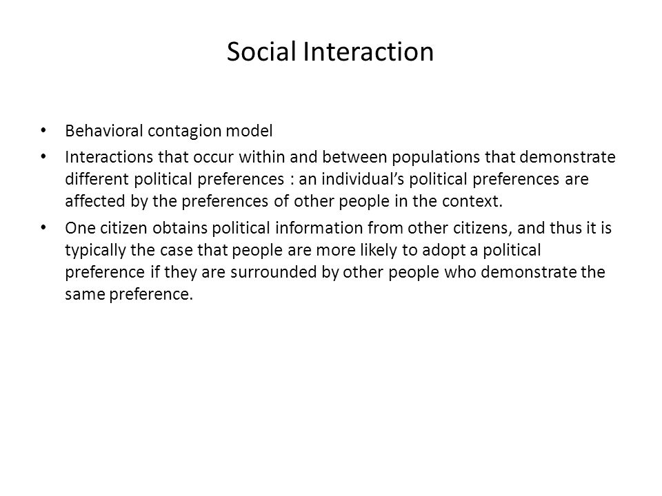 Social Interaction Behavioral contagion model