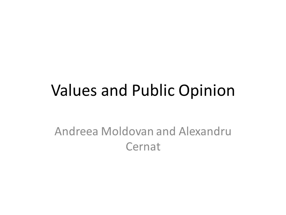 Values and Public Opinion