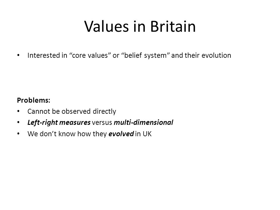 Values in Britain Interested in core values or belief system and their evolution. Problems: Cannot be observed directly.
