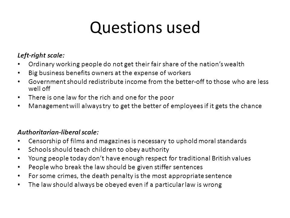 Questions used Left-right scale: