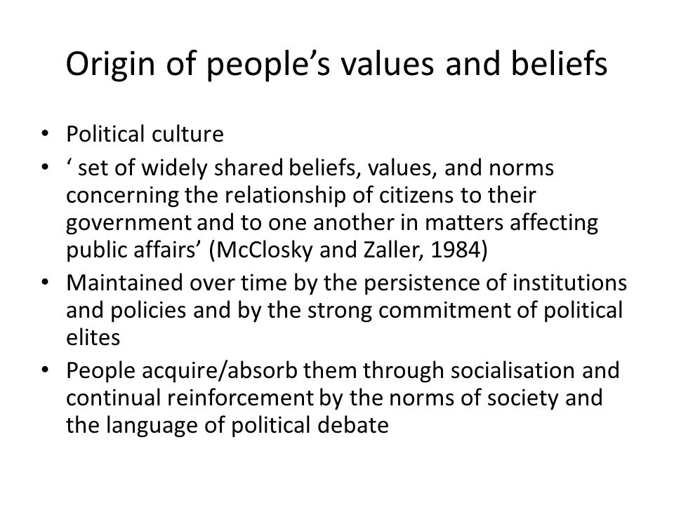 Origin of people's values and beliefs
