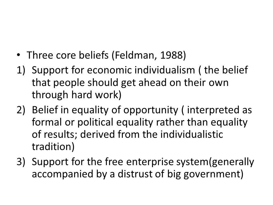 Three core beliefs (Feldman, 1988)