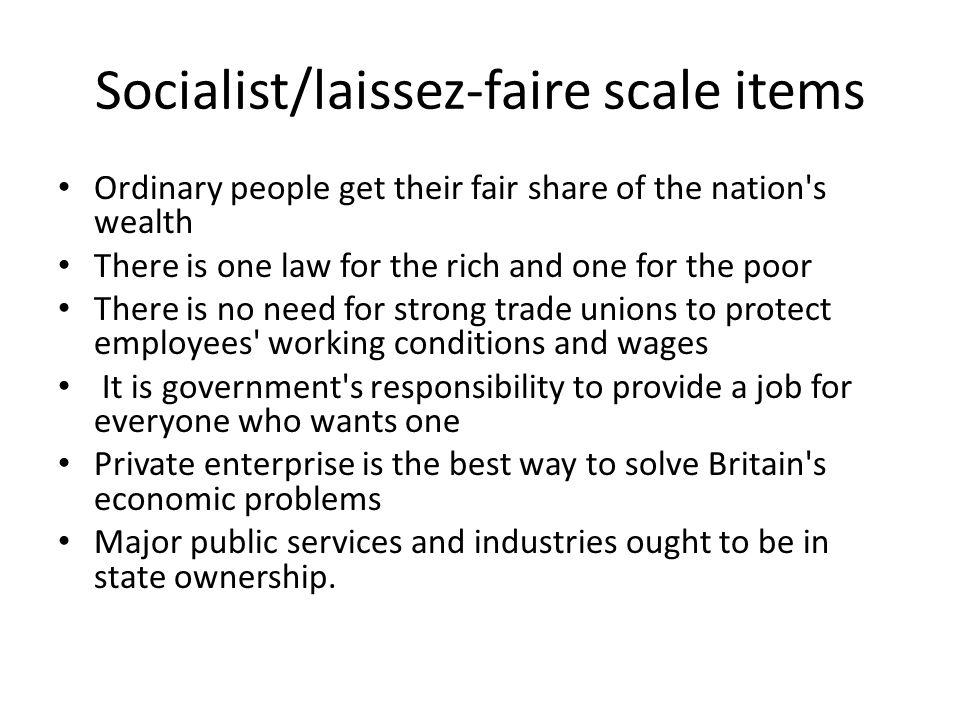 Socialist/laissez-faire scale items