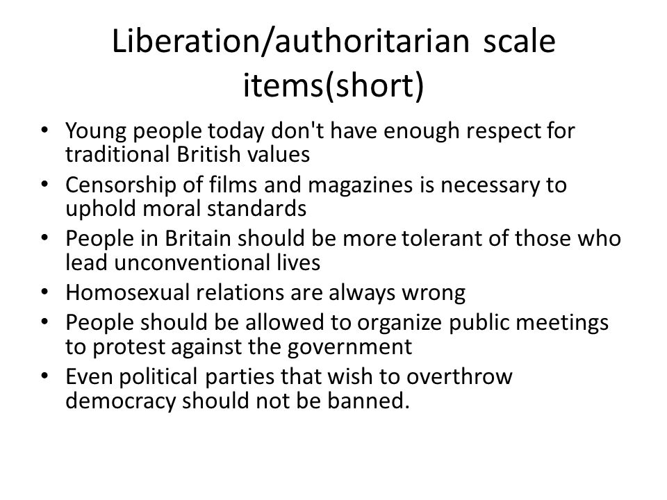 Liberation/authoritarian scale items(short)