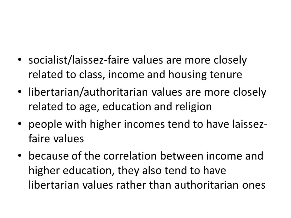 socialist/laissez-faire values are more closely related to class, income and housing tenure