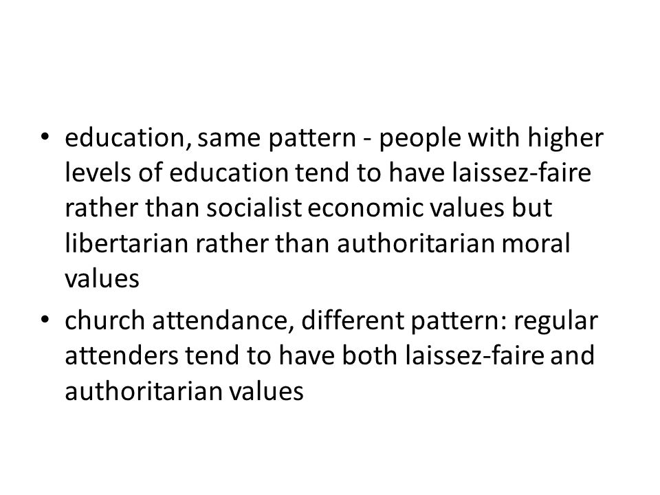 education, same pattern - people with higher levels of education tend to have laissez-faire rather than socialist economic values but libertarian rather than authoritarian moral values