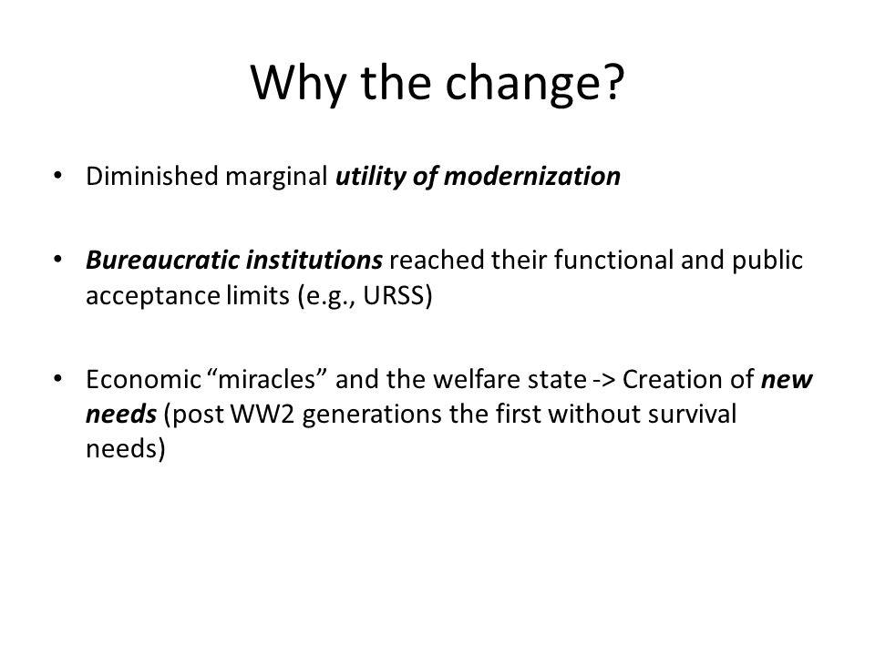 Why the change Diminished marginal utility of modernization