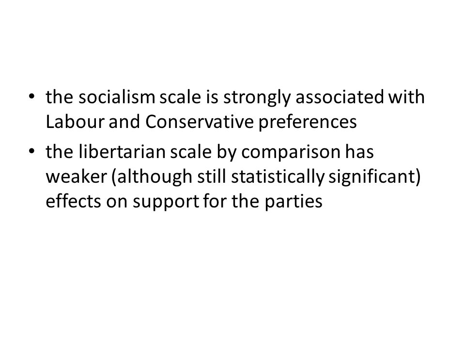 the socialism scale is strongly associated with Labour and Conservative preferences