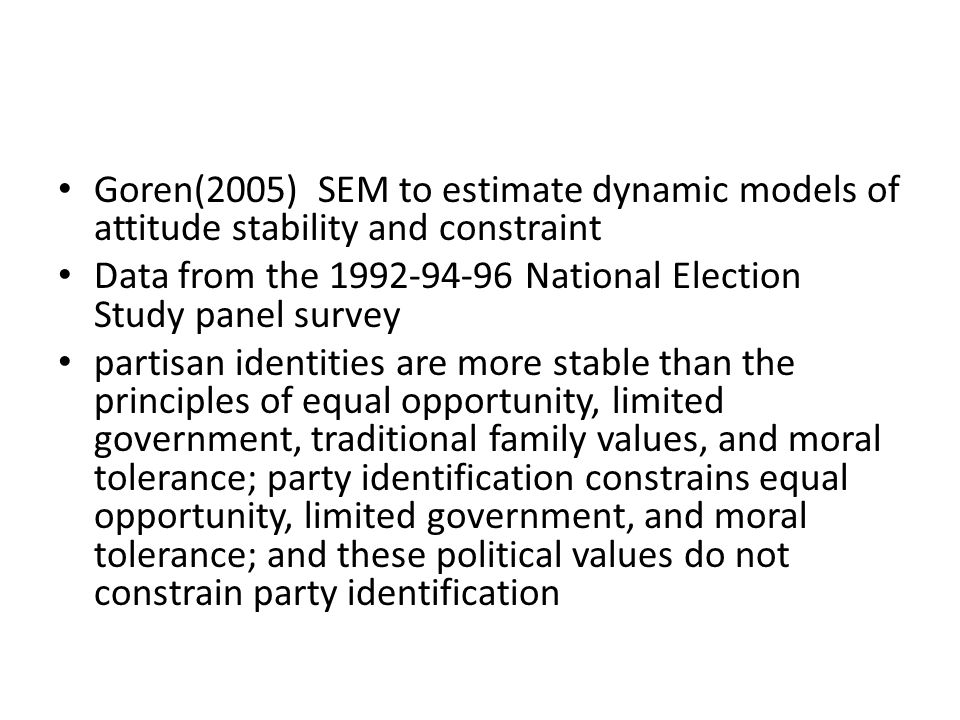 Goren(2005) SEM to estimate dynamic models of attitude stability and constraint